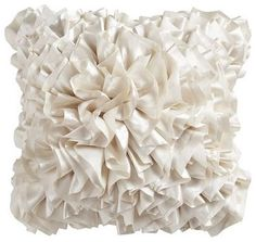Flounce Pillow, Ivory - eclectic - pillows - Pier 1 Imports