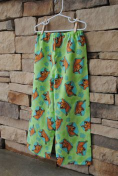 Scooby Doo Pajama Pants, Green Dog Fabric Lounge Bottoms for Girls or Boys, Birthday Party Gift. 12mo, 18mo, 2t, 3t, 4t, 5t, 6, 7, 8 by BugaboosCloset on Etsy https://www.etsy.com/listing/229822998/scooby-doo-pajama-pants-green-dog-fabric