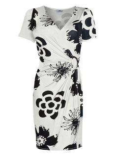 Vestido com estampa off-white/preto encomendar agora na loja on-line bonprix.de  R$ 99,90 a partir de O vestido transpassado é um clássico! Muito ...