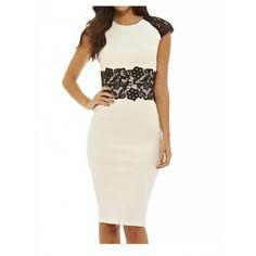 Biała elegancka sukienka ołówkowa z czarną koronką w talii #sukienka #zakupy #moda
