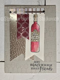 Half Full Stampin' Up! Holiday Catalog 2017 Wine card with Champagne paper #GDP098