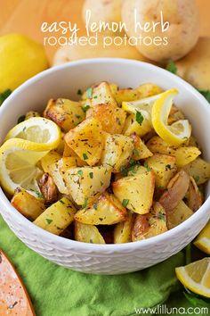 Easy Lemon Herb Roasted Potatoes - Golden potatoes in lemon juice, olive oil, and lots of seasonings Vegetable Recipes, Vegetarian Recipes, Cooking Recipes, Healthy Recipes, Veggie Food, Cooking Tips, Lemon Recipes, Salad Recipes, Herb Roasted Potatoes