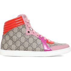 GUCCI Coda supreme GG high-top trainers (2.180 RON) ❤ liked on Polyvore featuring shoes, sneakers, pale pink, high top shoes, lace up shoes, gucci high tops, lace up sneakers and gucci trainers