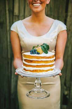 Elegant Naked Wedding Cake   Nhiya Kaye Photography   Minimalist Elegance with Country Chic Details