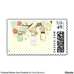 Country Mason Jars Country Postage Stamp