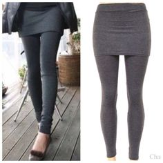 Charcoal Skirt Leggings One Size So cute!  Great basic piece!  Charcoal gray leggings with attached skirt, 65% Cotton 30% Polyester 5% Spandex Blend.  No Trades, Price Firm unless Bundled.  BUNDLE 3 OR MORE ITEMS FOR 15 % OFF Boutique Pants Leggings
