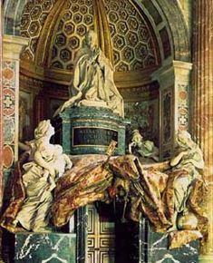 This, one of the most famous papal monuments in St. Peter's, is the masterpiece of the 80-year old Bernini.    The door under the monument leads to an exit of the basilica. Alexander VII was the pope who commissioned Bernini to enclose St. Peter's Square with the colonnade.