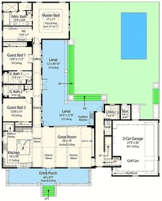 Net Zero Ready House Plan with L-Shaped Lanai - 33161ZR   Beach, Florida, Southern, Vacation, Exclusive, Net Zero Ready, Photo Gallery, 1st Floor Master Suite, Butler Walk-in Pantry, CAD Available, Media-Game-Home Theater, PDF, Corner Lot   Architectural Designs