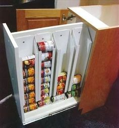 Love this clever storage idea for the can food in my kitchen!                                                                                                                                                     More