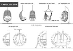 Here you can purchase a premium furniture library consisting of 9 CAD blocks of swing chairs in front and elevation views. Egg Swing Chair, Hanging Swing Chair, Swinging Chair, Swing Chairs, Balcony Table And Chairs, Wooden Dining Room Chairs, Ikea Chairs, Drawing Interior, Interior Design Sketches