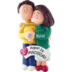 Engaged Couple Ornament - Both Brunette. This ornament and many more can be found at https://www.ornaments.com
