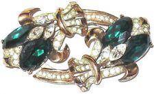 CORO CRAFT Sterling Silver Emerald Green & Ice Rhinestone Pin Dress Clip Duette
