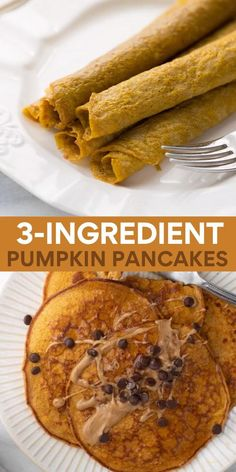 These pumpkin protein pancakes are made with 3 ingredients, for a quick and easy fall breakfast. Delicious, easy, gluten-free and no refined sugar! #proteinpancakes #pumpkinpancakes #pancakes #breakfast #glutenfree #paleo Quick Lunch Recipes, Beef Recipes For Dinner, Easy Healthy Recipes, Fall Recipes, Gluten Free Recipes, Pumpkin Recipes Lunch, Soup Recipes, Healthy Breakfast Wraps, Fall Breakfast