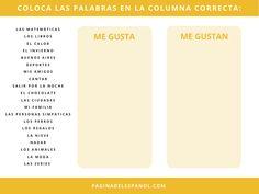 ¿Me gusta o me gustan? Teaching Spanish, I Like You, Words, Libros