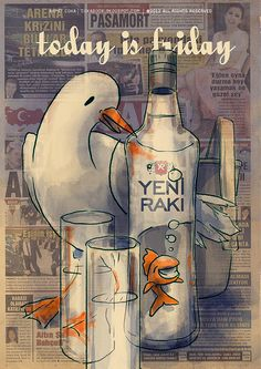 By Ahmet Coka. Rakıyı daha güzel çizenini tanımıyorum. Advertising History, Old Advertisements, Posters Vintage, Old Ads, Illustrations And Posters, Vintage Metal, Deco, Painting & Drawing, Istanbul