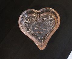 Pink Depression Glass Heart Dresser Dish Baby Heart Trinket Dish