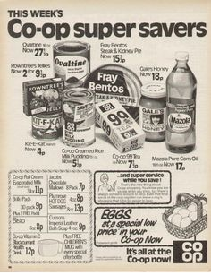 Co-op super savers ad Vintage Advertisements, Vintage Ads, Vintage Posters, Retro Ads, Vintage Stuff, 1970s Childhood, Childhood Memories, Family Memories, Old Sweets