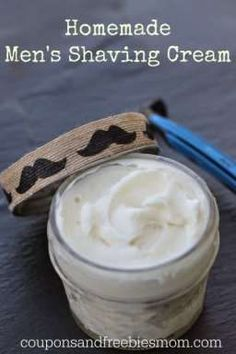 Homemade Shaving Cream with only 6 simple ingredients! Greath Father's Gift Idea! Stop wasting money on shaving cream! DIY Easy Homemade Shaving Cream for men or women! You'll wonder why you never made this before! Rich, all natural, & skin-softening! Smells wonderful... it's the perfect homemade gift idea. Check out this simple recipe right now!