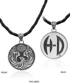 Harley davidson mens carved eagle 925 sterling silver pendant necklace