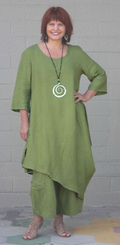 BRYN WALKER Light Linen NAIDA TUNIC Lagenlook Asymmetric Dress S ML XL ECHINACEA #BrynWalker #Tunic #Versatile