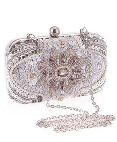 Fabric: polyester Structured, bead embellished outer Hard case design Fully lined Secure clasp fastening Detachable chain strap Clutch Bag, Box Clutch