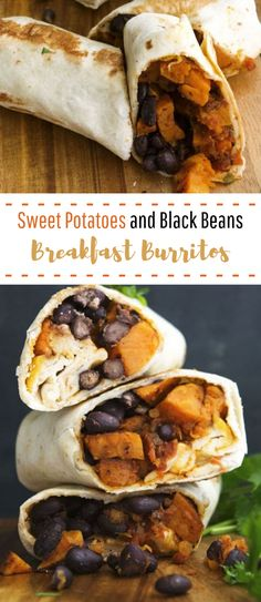 Sweet Potato and Black Bean Breakfast Burritos- These vegan sweet potato and black bean burritos are a great vegan breakfast recipe. It's also a freezer meal. A healthy recipe option if you are stuck in a rut. Vegan Sweet Potato and Black Bean Whole Foods, Whole Food Recipes, Cooking Recipes, Dinner Recipes, Soup Recipes, Burrito Recipes, Dinner Ideas, Pasta Recipes, Salad Recipes
