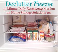How to declutter your freezer, including list of freezer storage times to help you know when food should be tossed {part of the #Declutter365 missions on Home Storage Solutions 101}