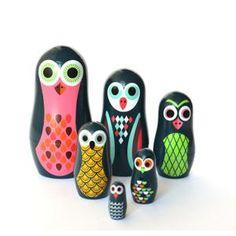 Babushka ugglor - pocket owls - formgivna av Ingela P Arrhenius från OMM design