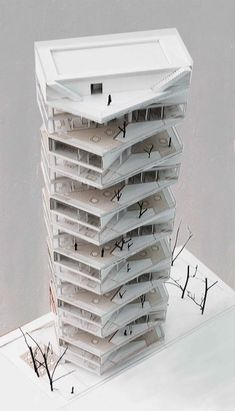 Writhing Tower / LYCS Architecture está representa a la arquitectura moderna. Architecture Résidentielle, Architecture Student, Architecture Portfolio, Amazing Architecture, Classical Architecture, Installation Architecture, Tower Design, Arch Model, Apartment Design