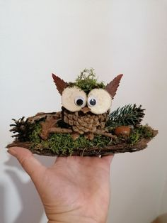 Made of natural materials - Paper Plate Crafts Easy Fall Crafts, Fall Diy, Diy And Crafts, Crafts For Kids, Arts And Crafts, Owl Crafts, Halloween Crafts, Christmas Crafts, Pine Cone Art