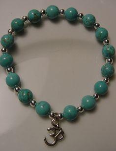 OM Charm Turquoise Howlite Bracelet & Earrings ~ Healing Jewelry ~ Chakra Balance by CherylsHealingGems, $28.00