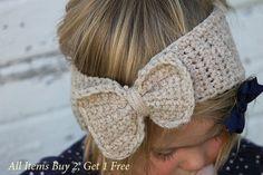 Crochet Little Girl Headband Headwarmer with Bow