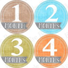 Make a banner of photos for each month up until the first birthday.  Put one of these on each photo.  13 Monthly Onesie Stickers FREE Hello Just by appleeyebabyshop