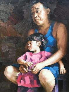 Artist:Li Yueling  Title:Rural teacher and his girl  Material:Oil on canvas   Size:50x60cm  Time:2015   Price:$1700