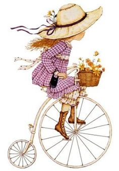 58 ideas flowers illustration kids sarah kay for 2019 Sarah Key, Holly Hobbie, Vintage Pictures, Cute Pictures, Penny Farthing, Hobby Horse, Cute Illustration, Illustrations, Vintage Flowers