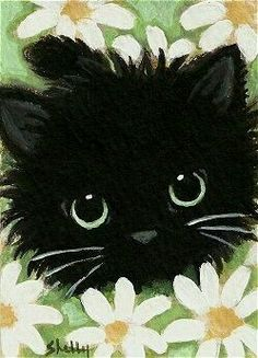 ACEO Original Acrylic Painting-Black Cat by ShellyMundelArt on Zibbet - Cats Love Cat Drawing, Painting & Drawing, Black Cat Painting, Painting Abstract, Stone Painting, Image Chat, Gatos Cats, Illustration Art, Illustrations