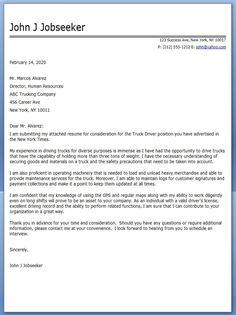 truck driver cover letter sample
