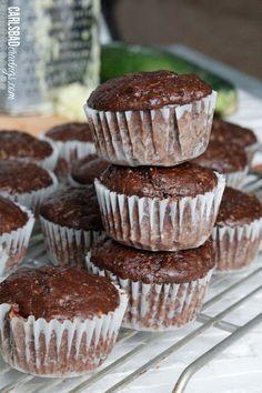 Skinny Double Chocolate Zucchini Pecan Muffins | Carlsbad Cravings