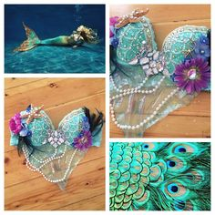 Peacock-inspired mermaid bra for @x_karolinamariex3  view premade outfits and costumes or send me a custom order request on my etsy!  link in bio!
