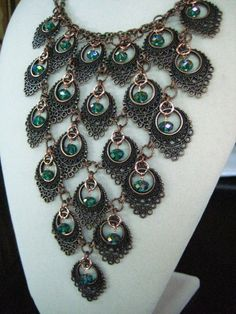 The Copper Peacock Crystal  Bib Statement by zoeJaneJewels1, $65.00