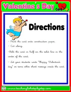 VALENTINE'S DAY CARD DIRECTIONS #