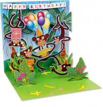 """Up With Paper Monkeys Birthday Card by Up With Paper. $5.31. They incorporate a combination of designs with pop-ups, richly embellished with glitter, ribbons, lace bows, soft plush and other items.. The fun, eye-catching Treasures line of greeting cards, featuring engaging designs and surprising pop-ups are irresistible.. All Treasures cards measure 5"""" x 5"""" when closed.. Treasures cards charm senders and recipients alike!. Personalize your greeting in the provide..."""