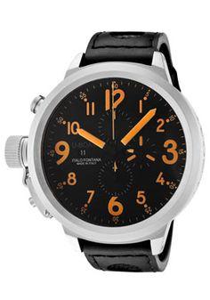 U-Boat 1756 Watches,Men's Flightdeck Automatic/Mechanical Chronograph Black Dial Black Calf Leather, Men's U-Boat Automatic Watches