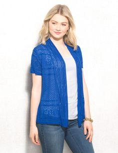 Not your average throw-on-and-go cardigan; this one's got an allover pointelle pattern to put a stylish, femme spin on your wardrobe. Allover pointelle pattern. roz & ALI™ exclusively for dressbarn. Imported.