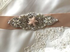 Bridal sash, Rose gold wedding sash belt, Wedding Champagne , Bridal Sash Belt, Champagne Wedding Belt, Crystal bridal sash belt   Absolutely gorgeous Finest Crystal Rhinestone belt!  ** Total Length of rhinestone part = about 5 3/4 ( 14 cm) ** Max width is about 2 inches ( 5 cm) ** Total sash belt is measuring 3 yards (108 inches) . ** Double face satin ribbon colors are available: If you want to use a different color ribbon, please convo me & I will source it for you. RIBBON C...