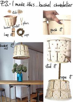 Bushel chandelier diy.