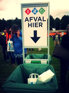 '1 2 3 Afval hier' - Malieveld, the Hague. October 2013. Public television, the Netherlands.
