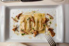 Ricotta and mushroom ravioli.