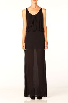 pleated sheer maxi tank dress.