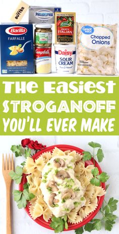 Easy Crockpot Recipes! Chicken Stroganoff is such a simple slow cooker dinner, loaded with rich Cream Cheese and Sour Cream. The result is a savory, creamy, and ultra dreamy chicken dinner that includes enough sauce for both your chicken and your pasta. Go grab the recipe and give it a try!